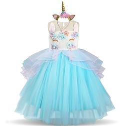 Unicorn Dress Kids Dresses For Girls Birthday Party Wear Pri