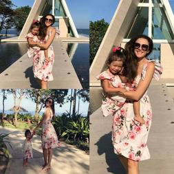 US Family Outfit Mother Daughter Party Beach Dresses Women G