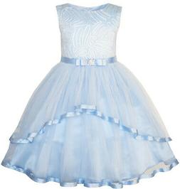 US STOCK! Flower Girls Dress Blue Belted Wedding Party Bride