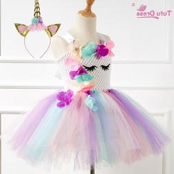 US Stock Flower Girls Unicorn Tutu Dress Princess Girls Birt