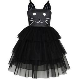 US STOCK! Girls Dress Cat Face Black Tower Ruffle Dancing Pa