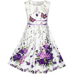 US STOCK! Girls Dress Purple Butterfly Flower Sundress Party
