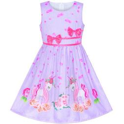 US STOCK! Girls Dress Purple Unicorn Flower Summer Sundress