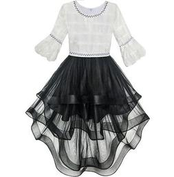 US STOCK! Girls Dress White and Black Hi-lo Party Dancing Pa