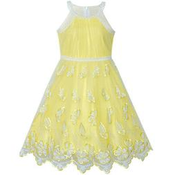 US STOCK! Girls Dress Yellow Butterfly Embroidered Halter Dr