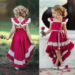 usa kids girls party bow princess dress