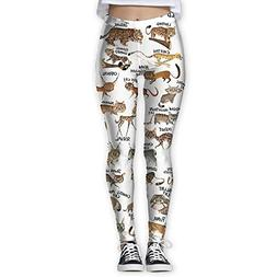 Wild Cats Printing Compression Leggings Pants Tights for Wom