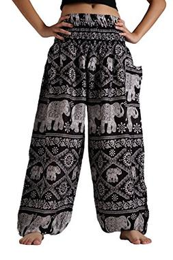 Bangkokpants Women's Yoga Pants Boho Elephant Design Plus Si